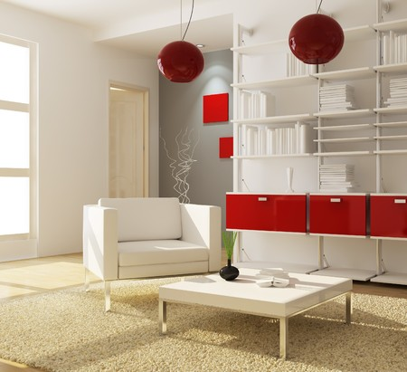 modern living room.3d render Stock Photo