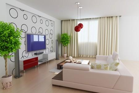 modern living room.3d render.I am the designer of wallpaper. photo