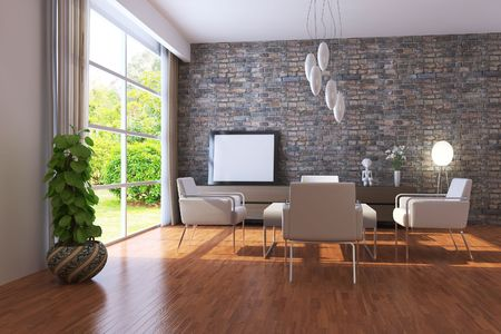 modern living room.3d render.I am the author of image which out of the window.