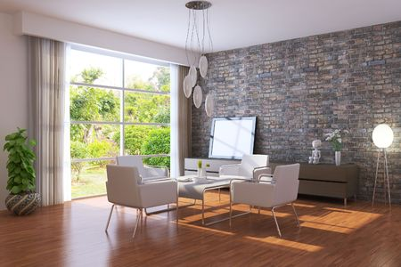 modern living room.3d render.I am the author of image which out of the window. photo