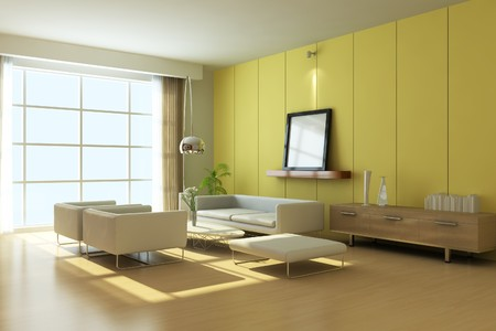 modern living room.3d render Stock Photo - 7118038