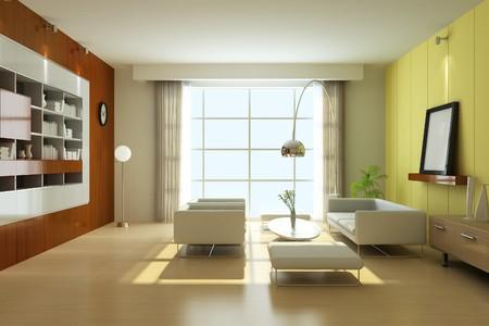 modern living room.3d render Stock Photo