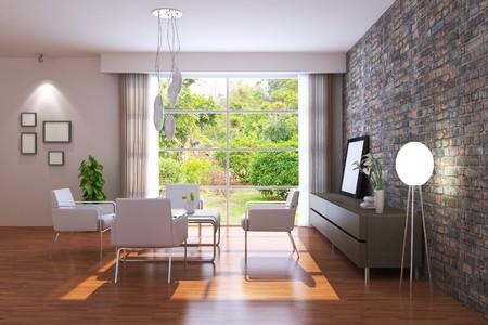 Modern Living-room.3d rendern.Ich bin der Autor des image, aus dem Fenster Standard-Bild