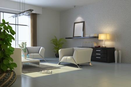 HAUSEINRICHTUNG room.3d render Standard-Bild