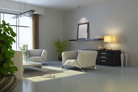 modern living room.3d render Stock Photo - 7118042