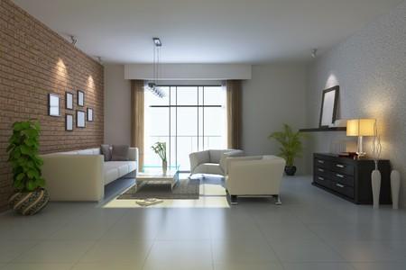 modern living room.3d render Stock Photo - 7118041