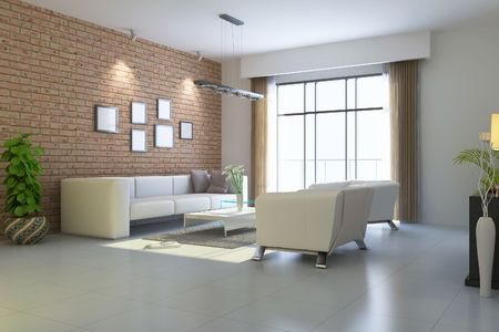 modern living room.3d render Stock Photo - 7145101