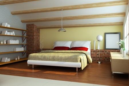 bedroom interior.3d render Stock Photo