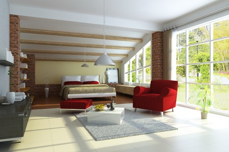 modern home interior.3d render.I am the author of image which out of the window Reklamní fotografie