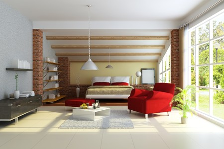 modern home interior.3d render.I am the author of image which out of the window photo
