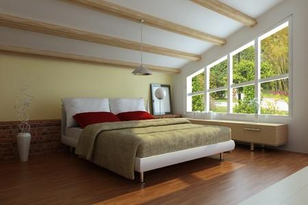 Schlafzimmer interior.3d render.I bin der Autor von Bild, aus dem Fenster