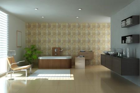 modern bathroom.3d render Stock Photo - 7162014