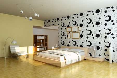 modern bedroom.3d render.I am the author of wallpaper Stock Photo