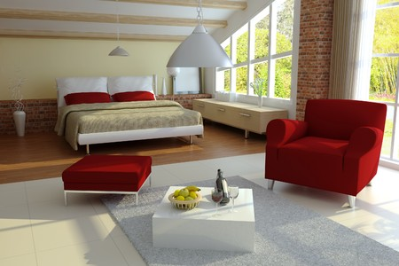modern home interior.3d render.I am the author of image which out of the window Stock Photo