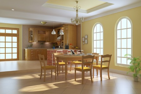 classic luxury dining room.3d render Stock Photo - 7213054