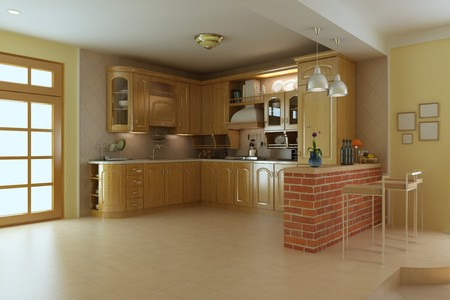 classic luxury kitchen.3d render photo