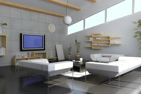 3d render inter of modern living room Stock Photo - 7213052