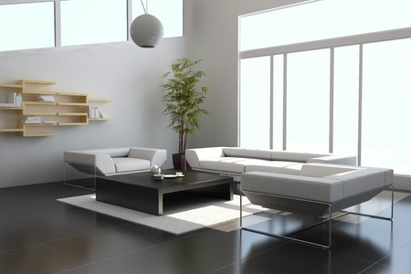 3d render interior of modern living room photo
