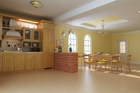 classic luxury kitchen and dining room.3d render Stock Photo - 7253138