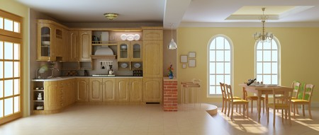 classic luxury kitchen and dining room.3d render photo