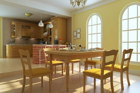 classic luxury dining room.3d render Stock Photo - 7253140
