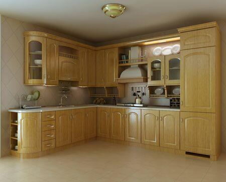 azulejos cocina: procesamiento de kitchen.3d de lujo cl�sico