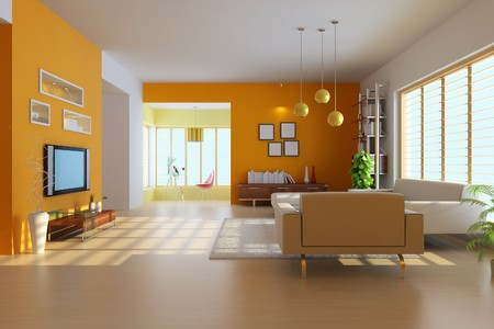 3d render inter of modern living room Stock Photo - 7297588