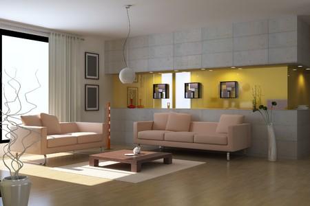 3d render interior of modern living room photo