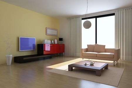 3d render inter of modern living room Stock Photo - 7297583