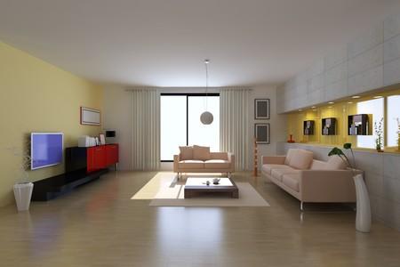 3d render inter of modern living room Stock Photo - 7297587