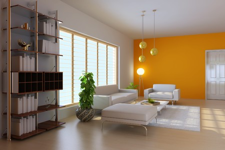 ceiling lamps: 3d render interior of modern living room