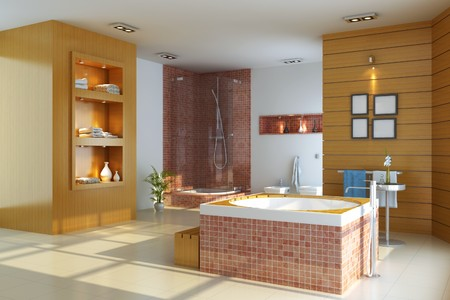 3d render interior of modern bathroom Stock Photo - 7403275