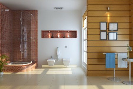 washroom: 3d render interior of modern bathroom