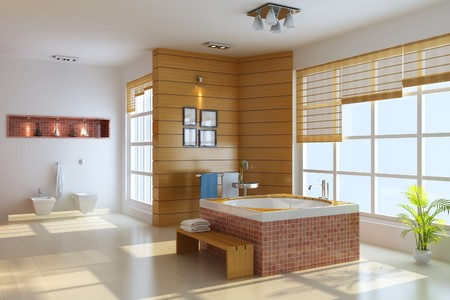 3d render interior of modern bathroom Stock Photo - 7403273