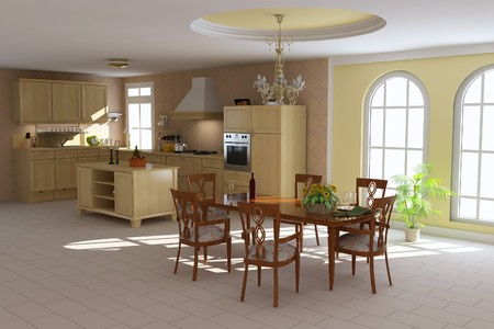 3d render interior of a classic dining room and kitchen Stock Photo - 7450797