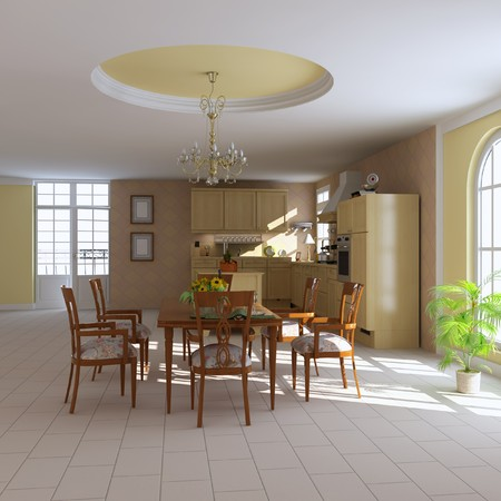 3d render interior of a classic dining room and kitchen Stock Photo - 7450795