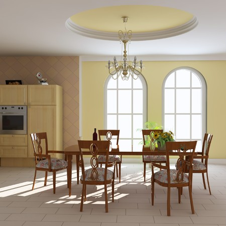 3d render interior of a dining room Stock Photo - 7450792
