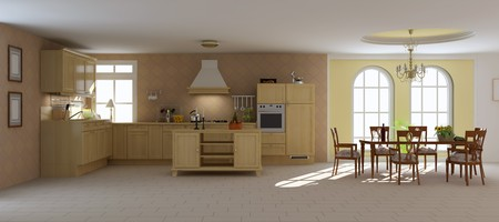 3d render interior of a classic dining room and kitchen Stock Photo - 7450801