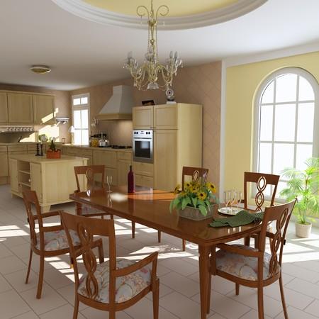 3D Render-Innenraum eines klassischen Esszimmer und Küche  Standard-Bild