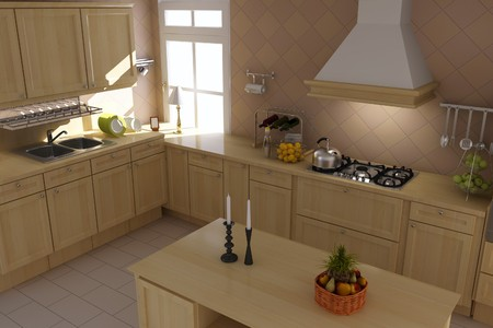 3d render inter of classic kitchen Stock Photo - 7450796