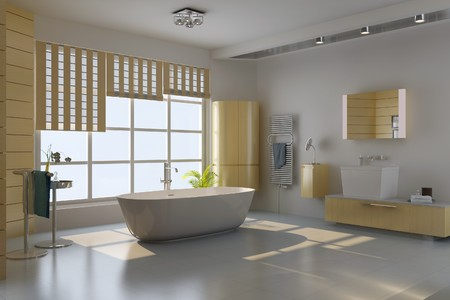 3d render interior of modern bathroom Stock Photo - 7492968