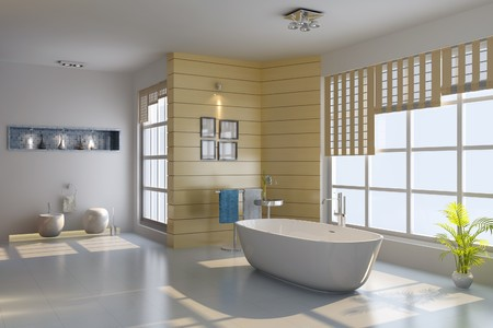 3d render interior of modern bathroom