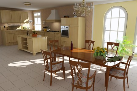 3d render inter of a classic dining room and kitchen Stock Photo - 7492975