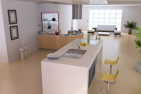 3d render modern home interior photo