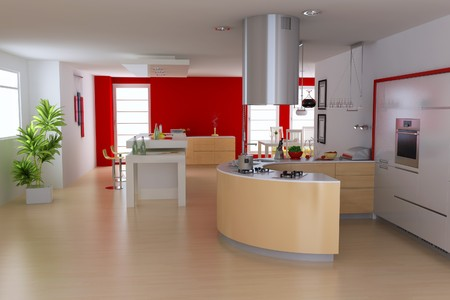 3d render interior of modern kitchen photo