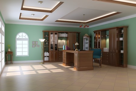 3d render interior of luxury classic study room Stock Photo - 7541116