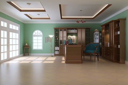 3d render interior of luxury classic study room Stock Photo - 7541117