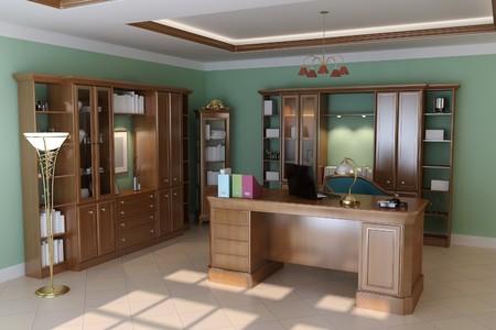 3d render interior of luxury classic study room photo
