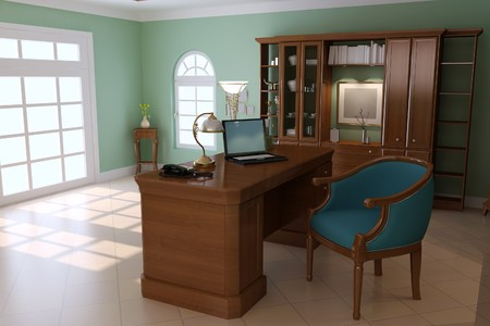 3d render interior of luxury classic study room Stock Photo
