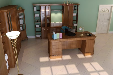 3d render interior of luxury classic study room Stock Photo - 7541120